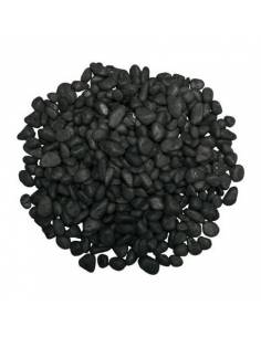 Black satin round gravel